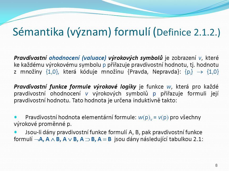 Sémantika (význam) formulí (Definice 2.1.2.)