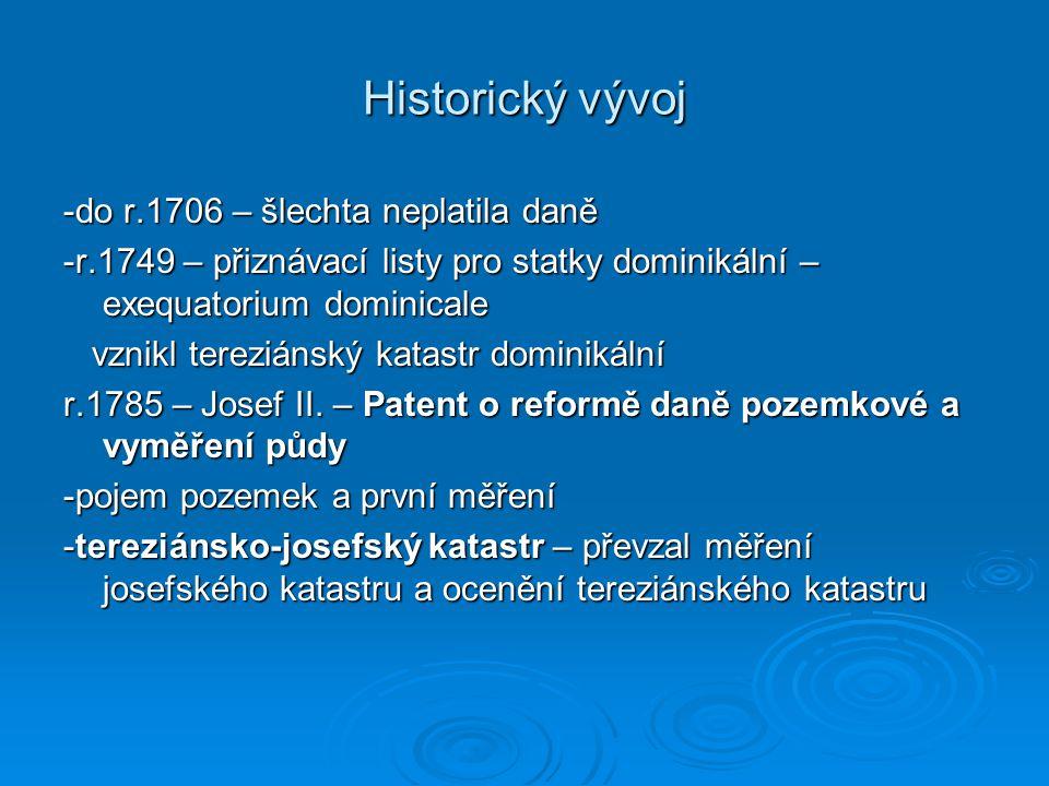 Historický vývoj -do r.1706 – šlechta neplatila daně