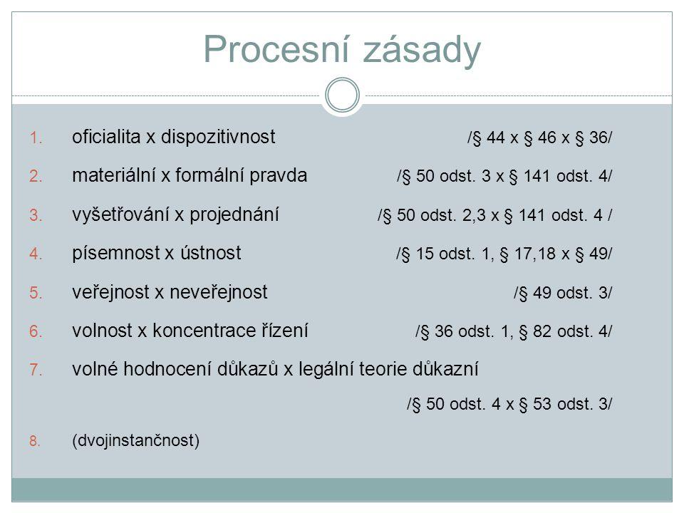 Procesní zásady oficialita x dispozitivnost /§ 44 x § 46 x § 36/