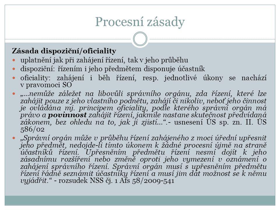 Procesní zásady Zásada dispoziční/oficiality