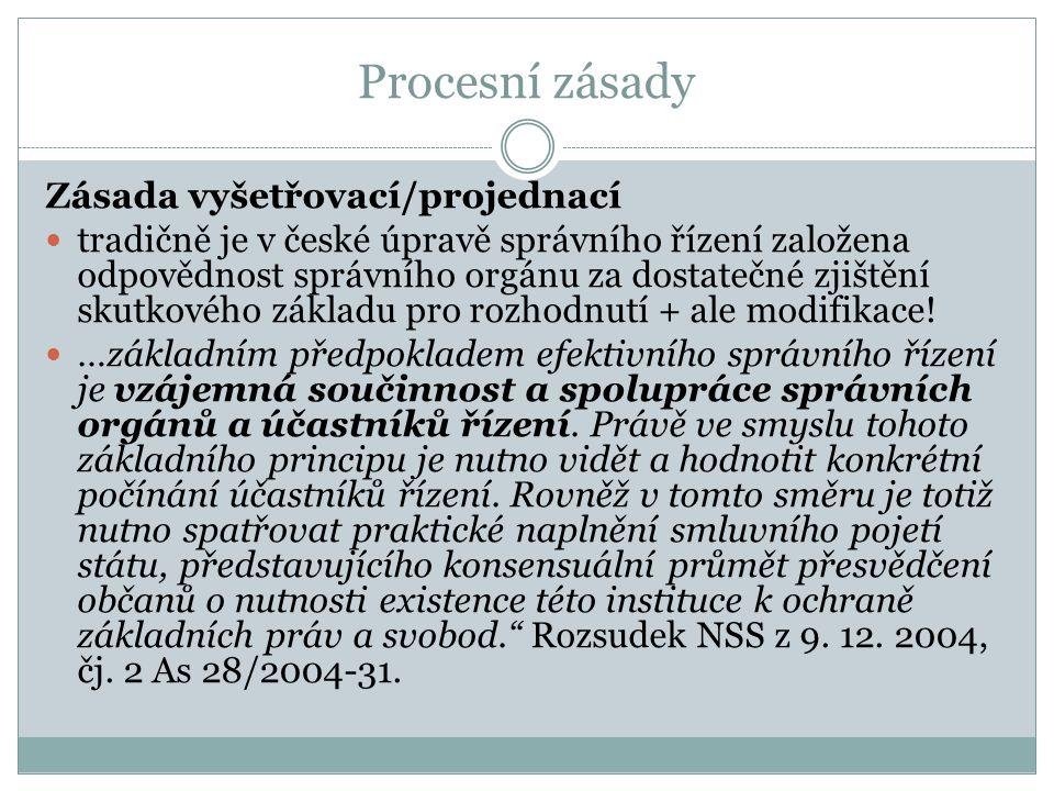 Procesní zásady Zásada vyšetřovací/projednací