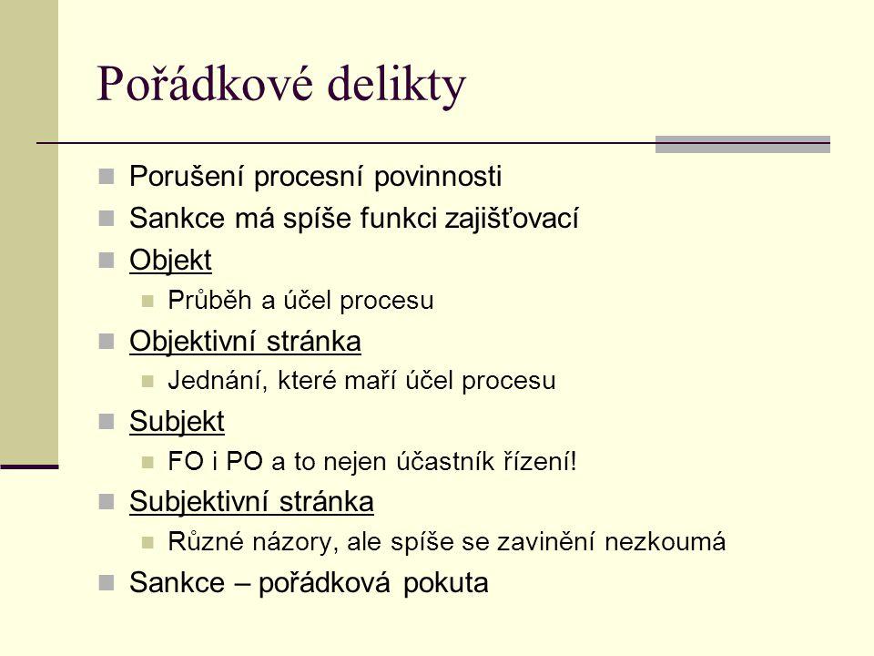 Pořádkové delikty Porušení procesní povinnosti