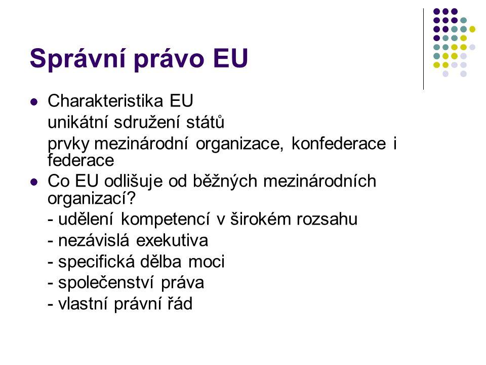 Správní právo EU Charakteristika EU unikátní sdružení států