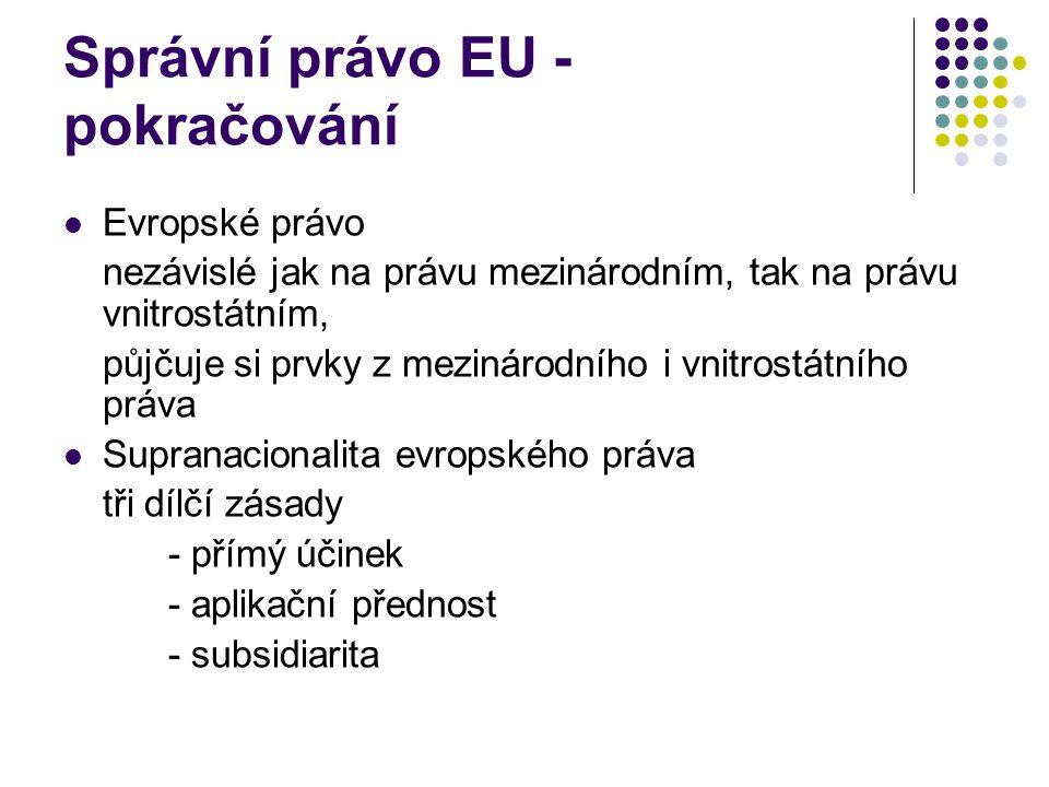 Správní právo EU - pokračování