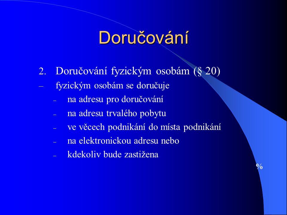 Doručování Doručování fyzickým osobám (§ 20)