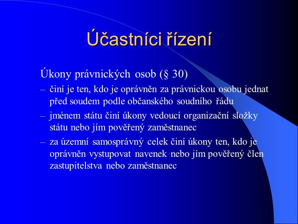 Účastníci řízení Úkony právnických osob (§ 30)