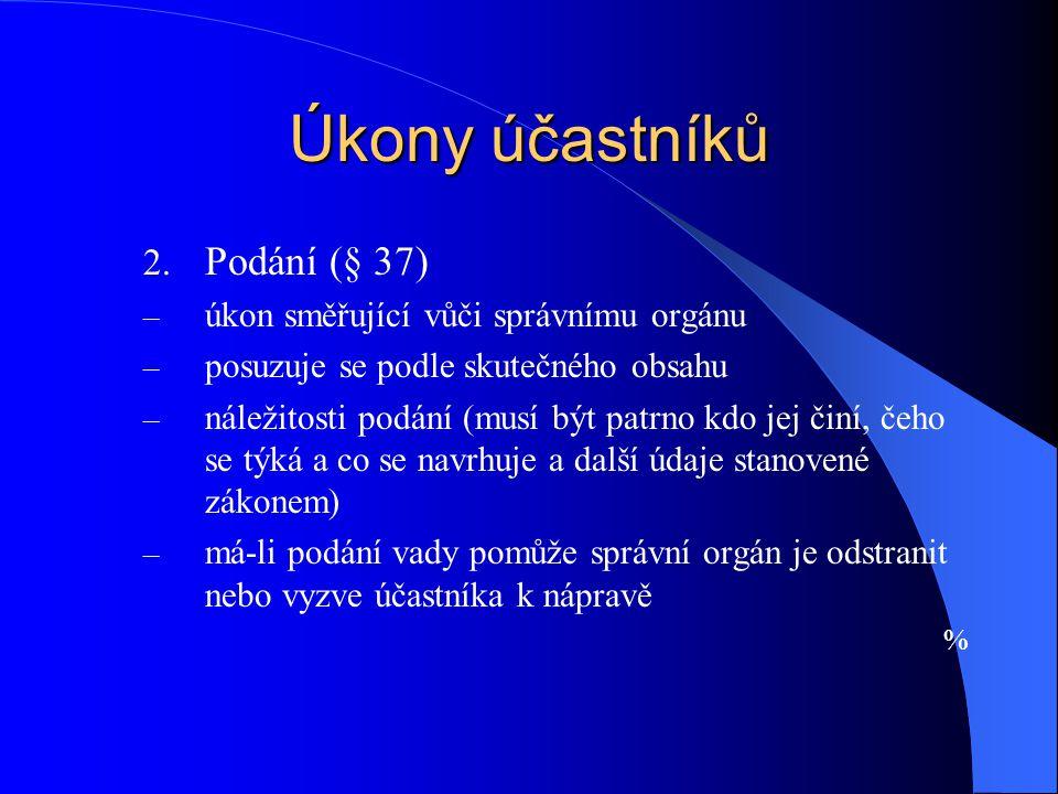 Úkony účastníků Podání (§ 37) úkon směřující vůči správnímu orgánu
