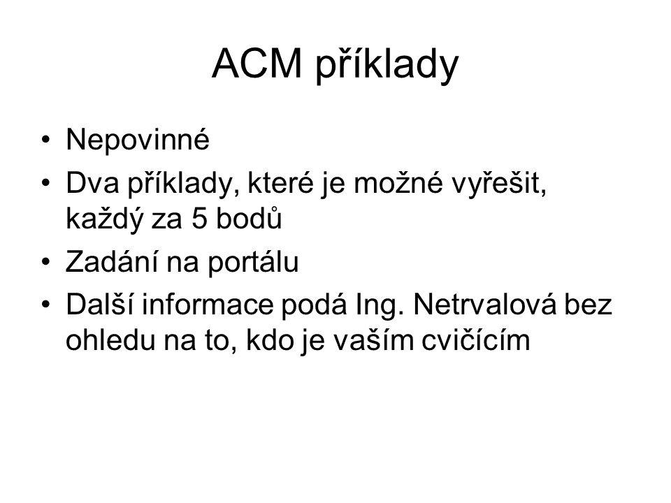 ACM příklady Nepovinné