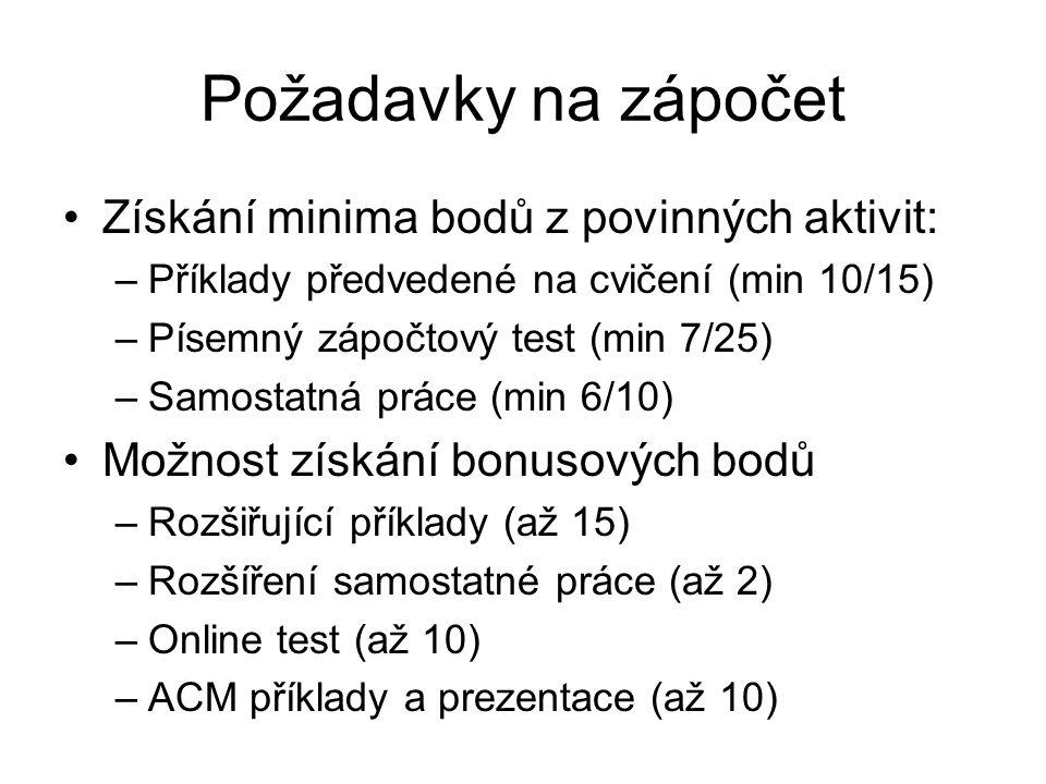 Požadavky na zápočet Získání minima bodů z povinných aktivit: