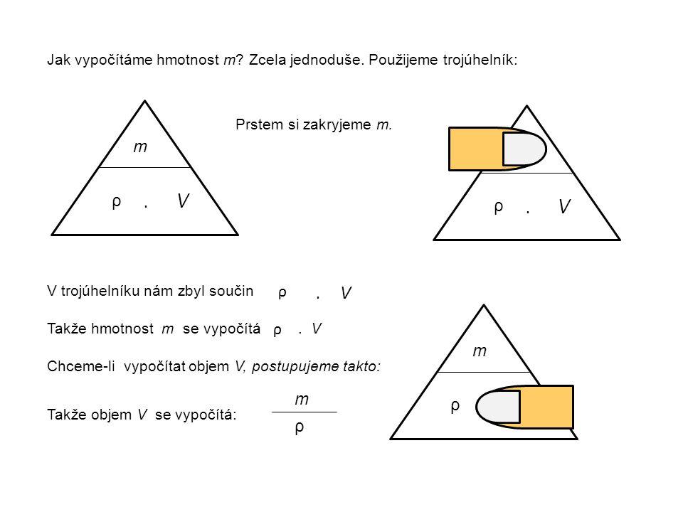 Jak vypočítáme hmotnost m Zcela jednoduše. Použijeme trojúhelník: