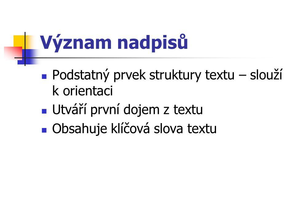 Význam nadpisů Podstatný prvek struktury textu – slouží k orientaci