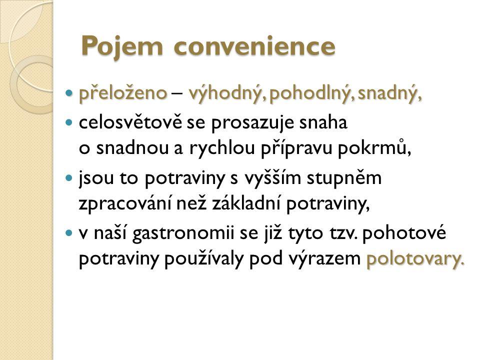 Pojem convenience přeloženo – výhodný, pohodlný, snadný,