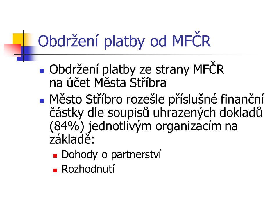 Obdržení platby od MFČR
