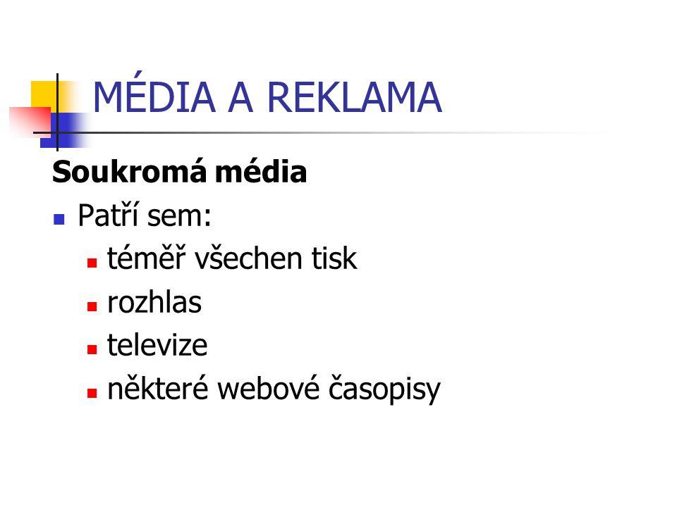 MÉDIA A REKLAMA Soukromá média Patří sem: téměř všechen tisk rozhlas