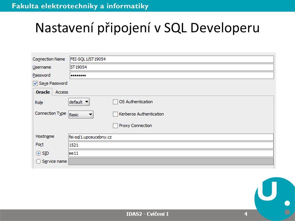Nastavení připojení v SQL Developeru