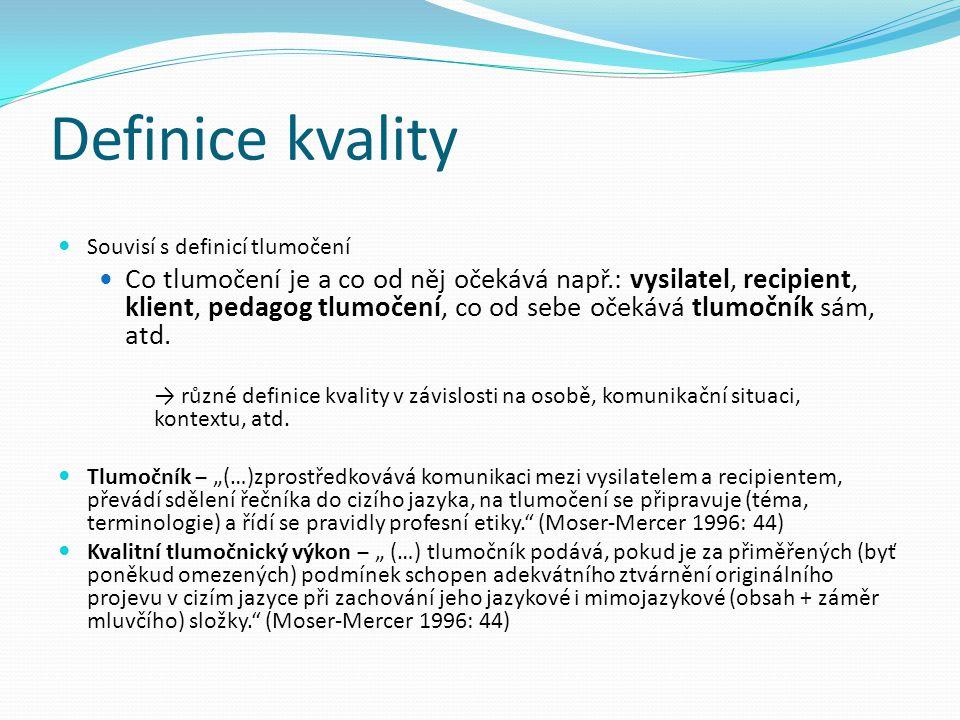 Definice kvality Souvisí s definicí tlumočení.
