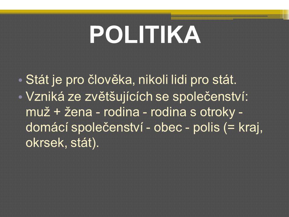 POLITIKA Stát je pro člověka, nikoli lidi pro stát.