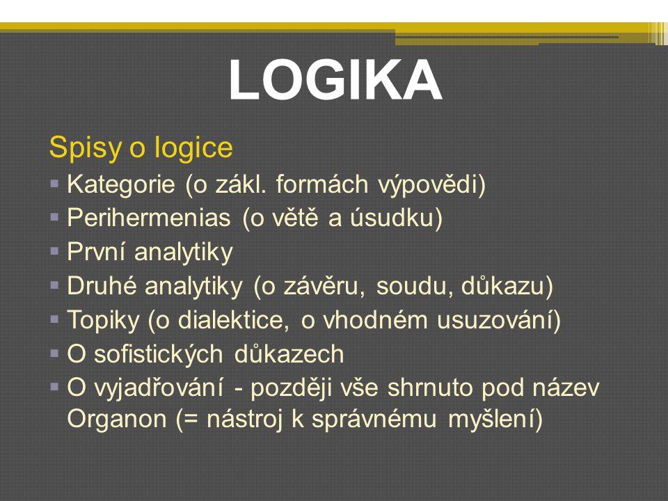 LOGIKA Spisy o logice Kategorie (o zákl. formách výpovědi)