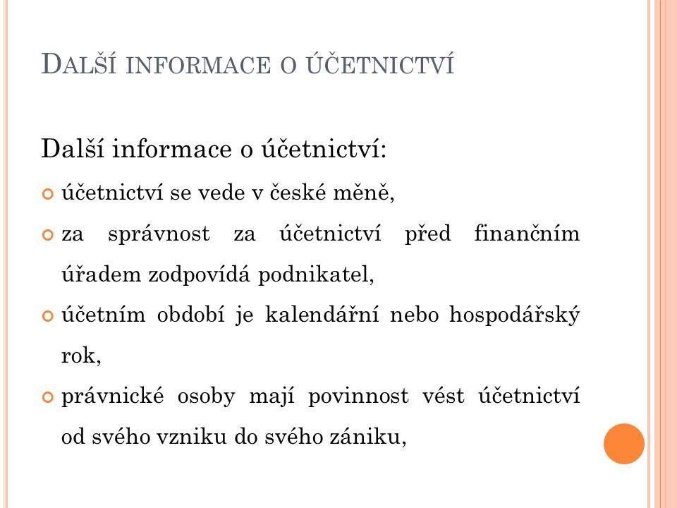 Další informace o účetnictví