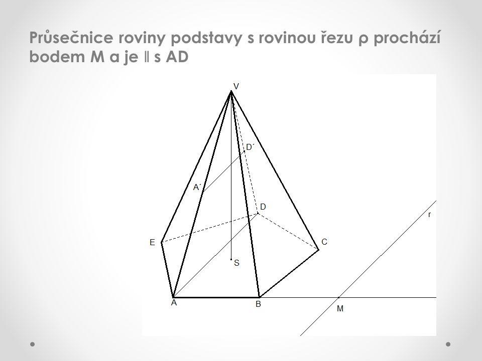 Průsečnice roviny podstavy s rovinou řezu ρ prochází bodem M a je ǁ s AD