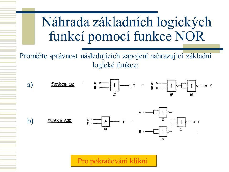 Náhrada základních logických funkcí pomocí funkce NOR
