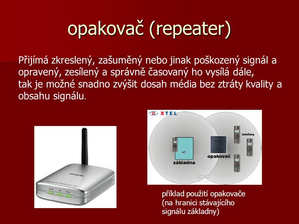 opakovač (repeater) Přijímá zkreslený, zašuměný nebo jinak poškozený signál a opravený, zesílený a správně časovaný ho vysílá dále,