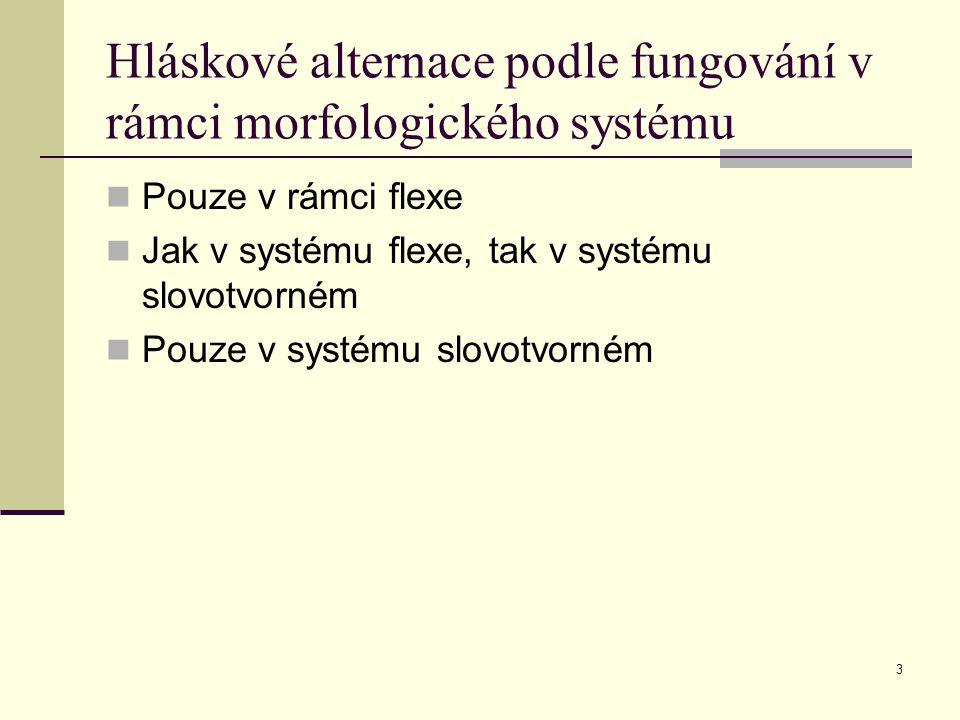 Hláskové alternace podle fungování v rámci morfologického systému
