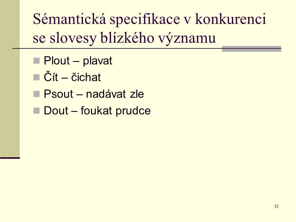 Sémantická specifikace v konkurenci se slovesy blízkého významu