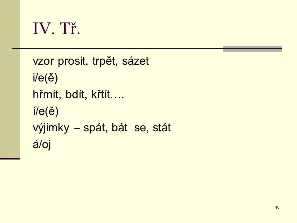 IV. Tř. vzor prosit, trpět, sázet i/e(ě) hřmít, bdít, křtít…. í/e(ě)