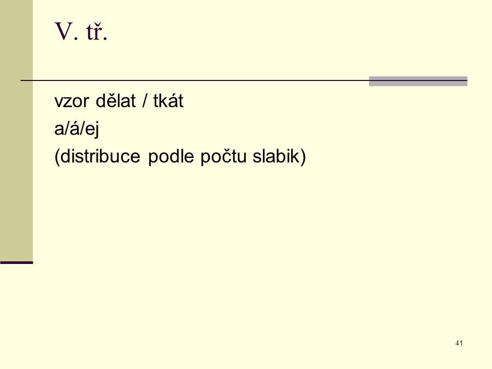 V. tř. vzor dělat / tkát a/á/ej (distribuce podle počtu slabik)