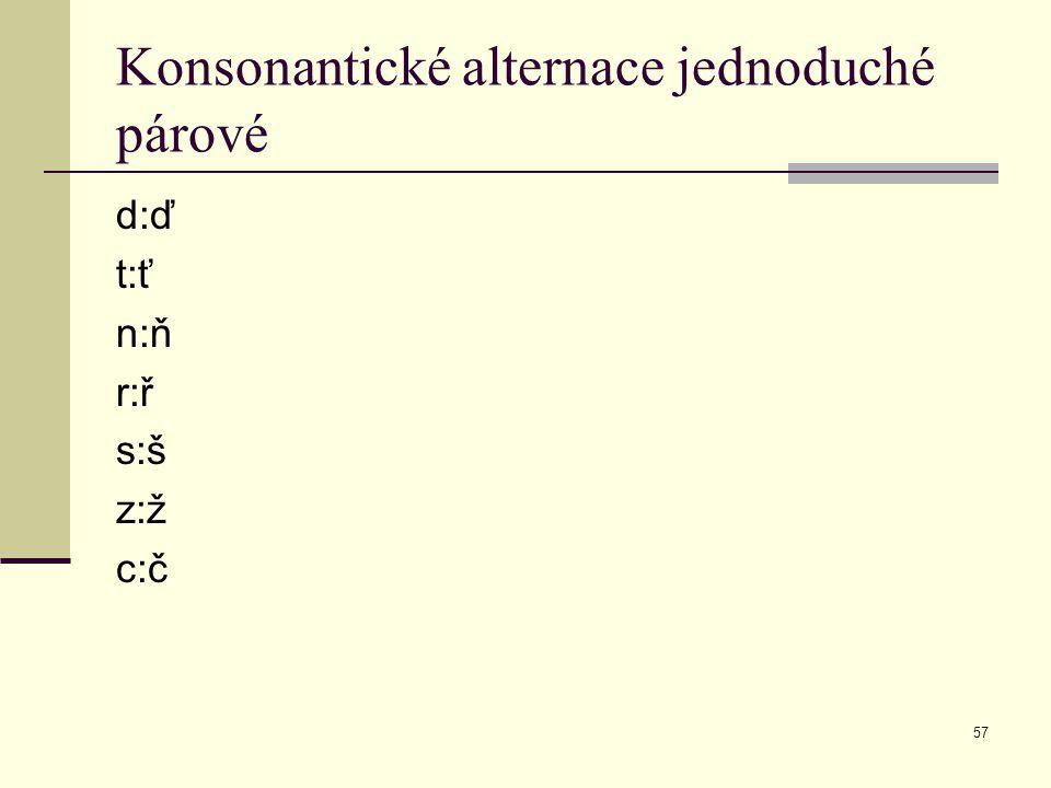 Konsonantické alternace jednoduché párové