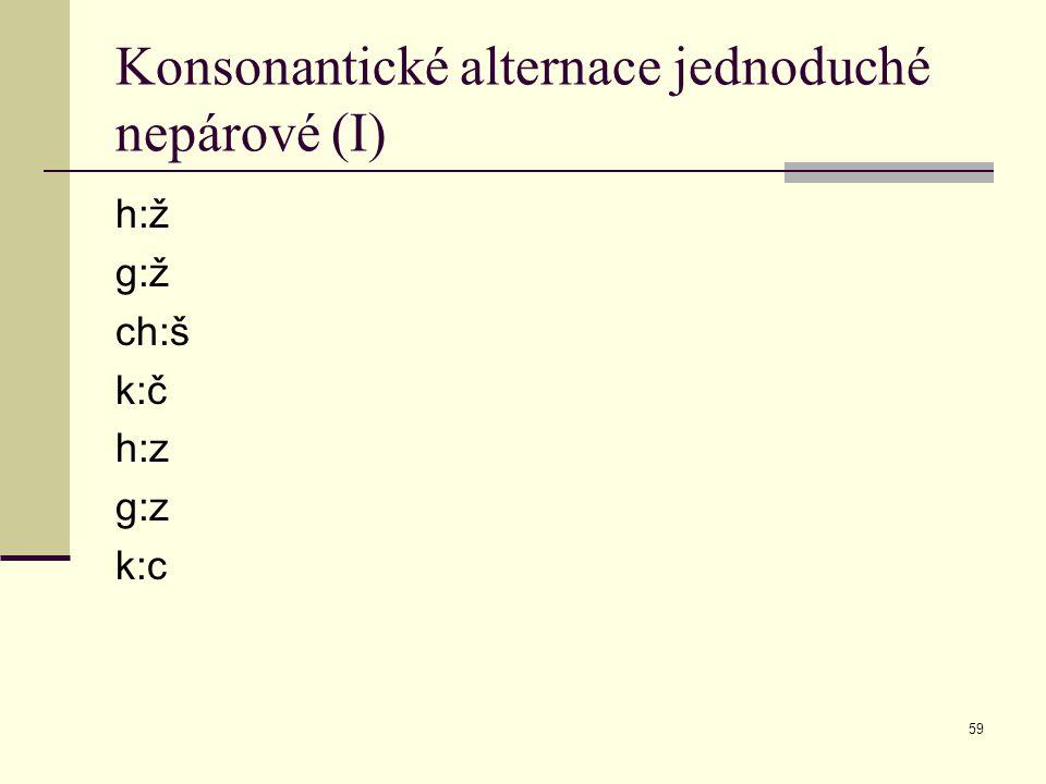 Konsonantické alternace jednoduché nepárové (I)