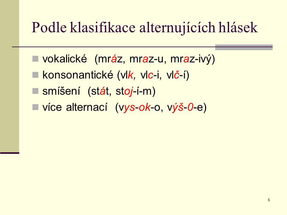 Podle klasifikace alternujících hlásek
