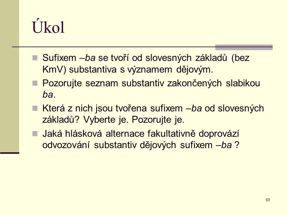Úkol Sufixem –ba se tvoří od slovesných základů (bez KmV) substantiva s významem dějovým. Pozorujte seznam substantiv zakončených slabikou ba.