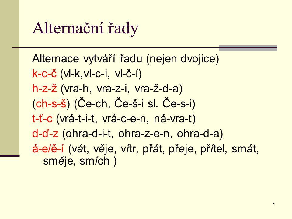Alternační řady Alternace vytváří řadu (nejen dvojice)