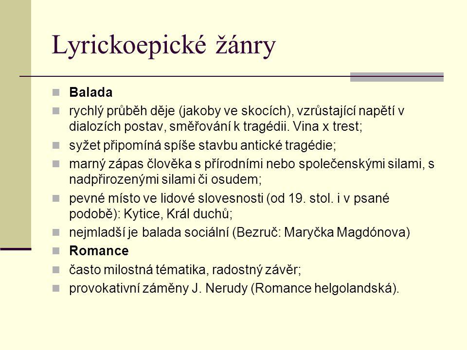 Lyrickoepické žánry Balada
