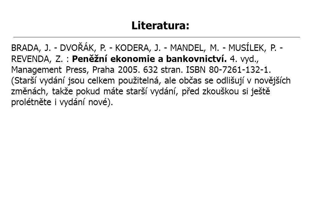 MTP202 - 1. Peníze Literatura: