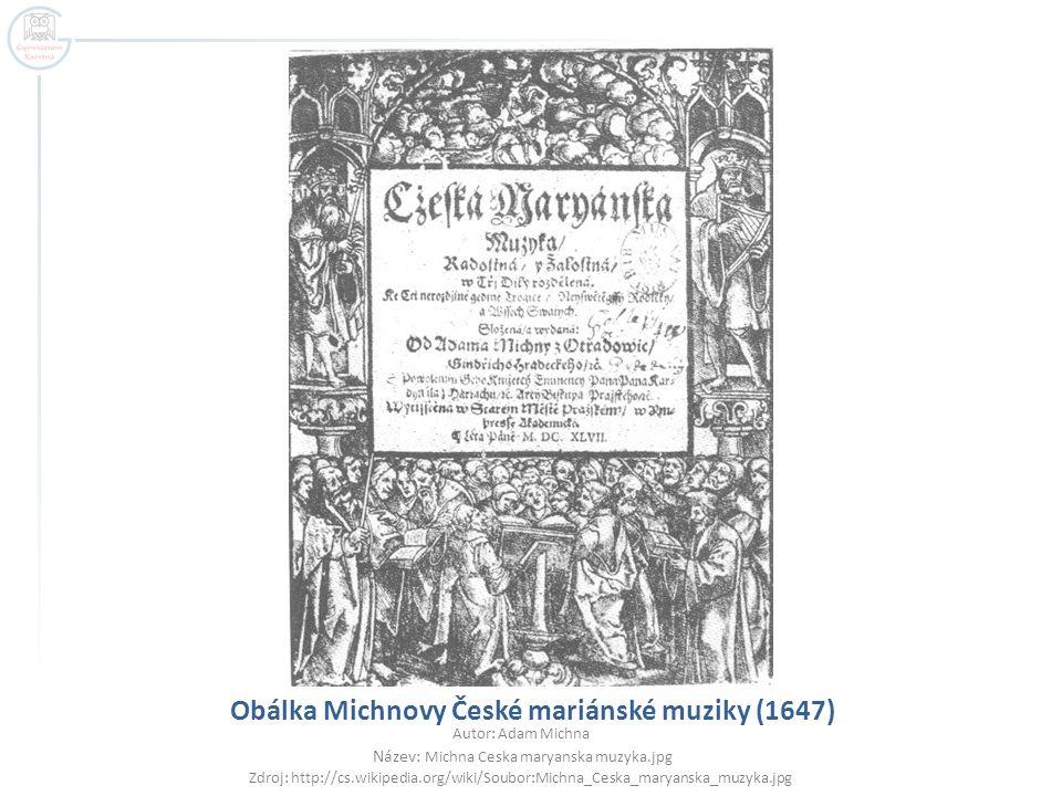 Obálka Michnovy České mariánské muziky (1647)