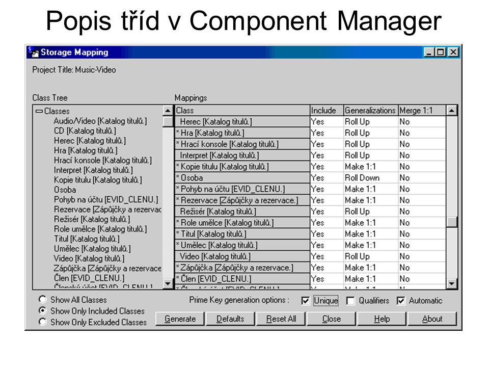 Popis tříd v Component Manager