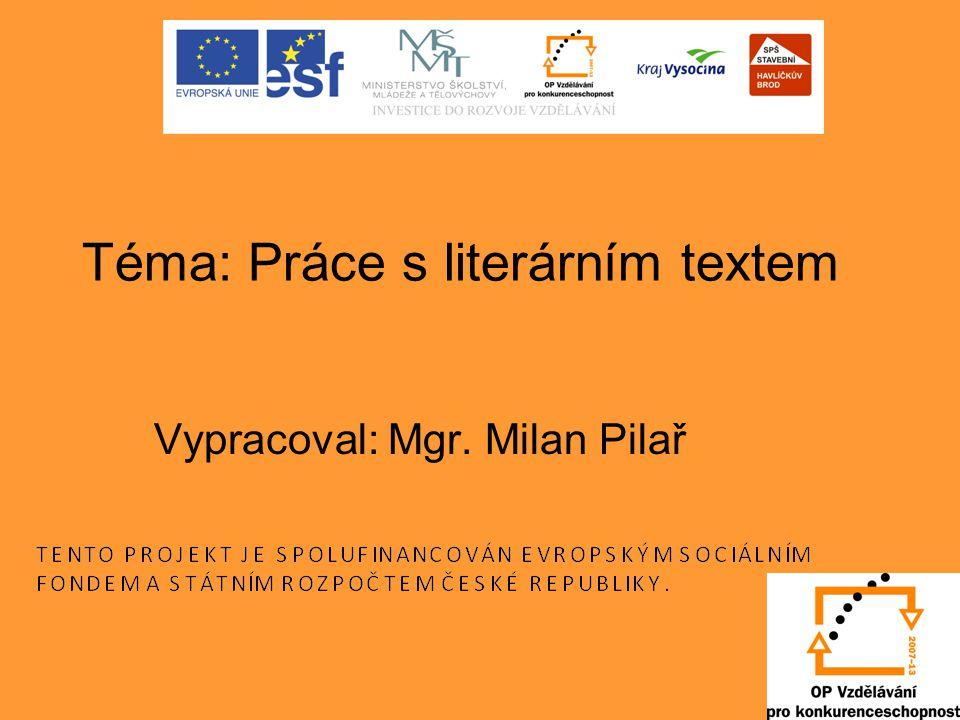Téma: Práce s literárním textem