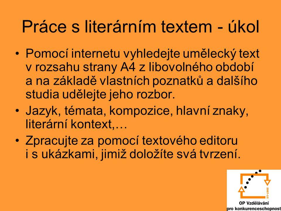 Práce s literárním textem - úkol