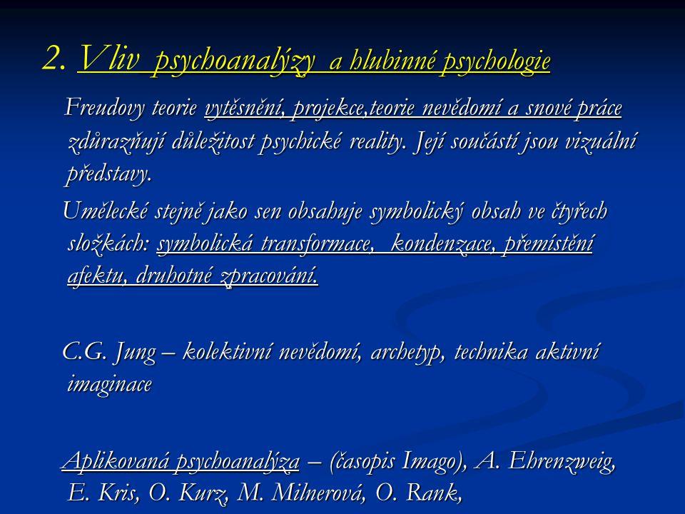 2. Vliv psychoanalýzy a hlubinné psychologie