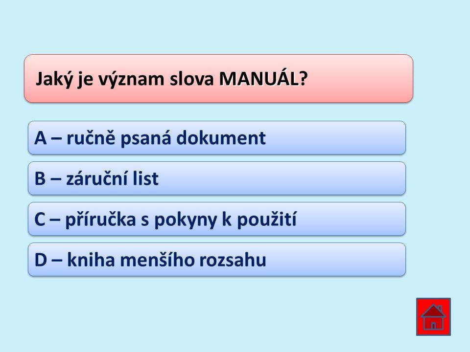 Jaký je význam slova MANUÁL