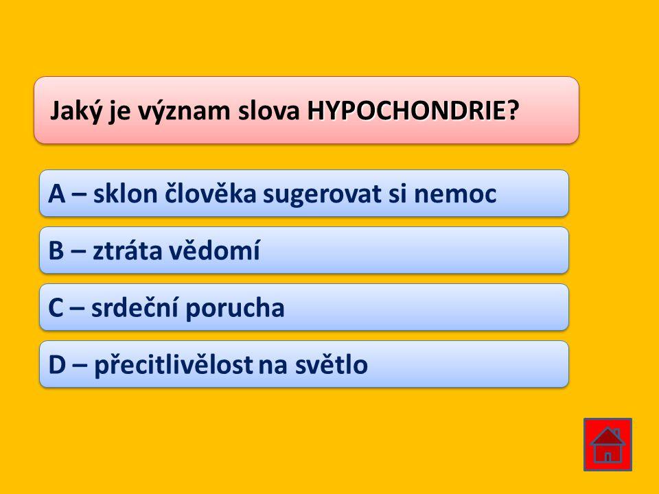 Jaký je význam slova HYPOCHONDRIE