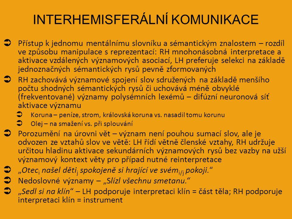 INTERHEMISFERÁLNÍ KOMUNIKACE