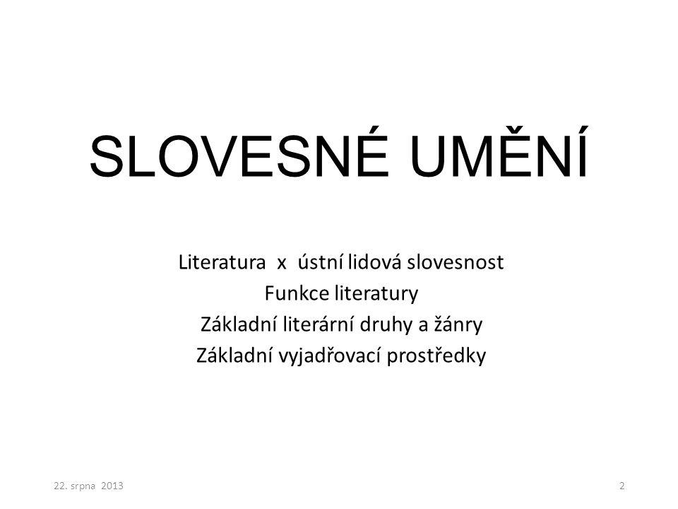 SLOVESNÉ UMĚNÍ Literatura x ústní lidová slovesnost Funkce literatury