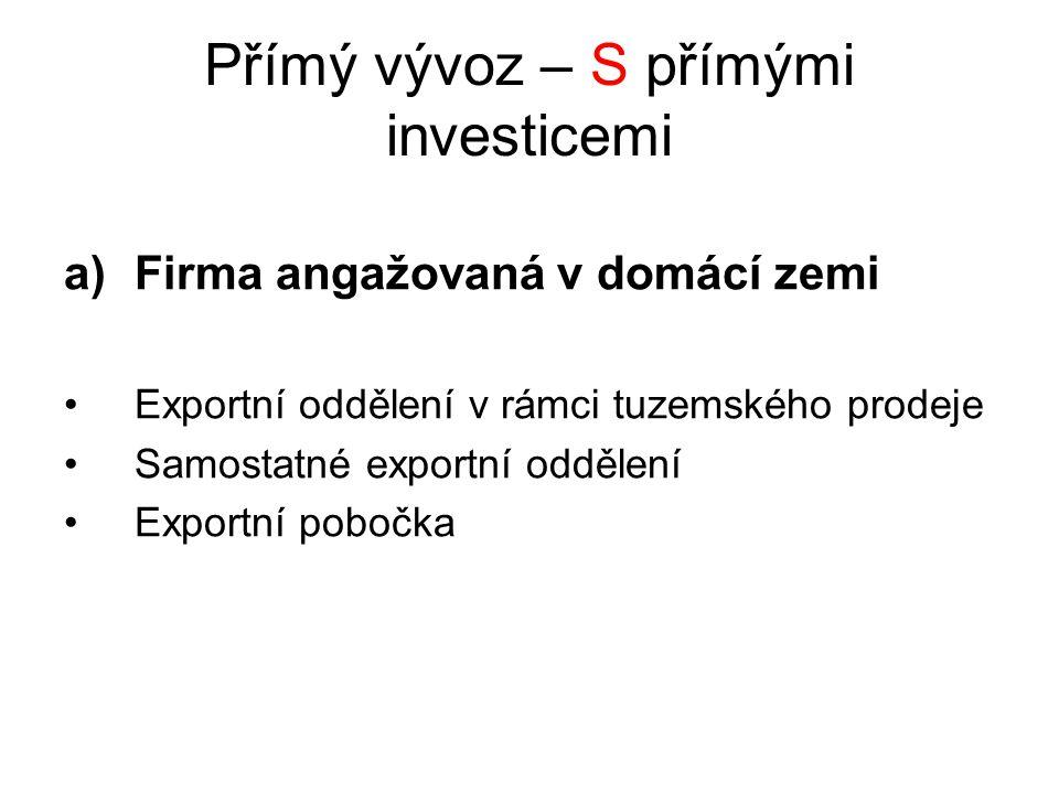Přímý vývoz – S přímými investicemi