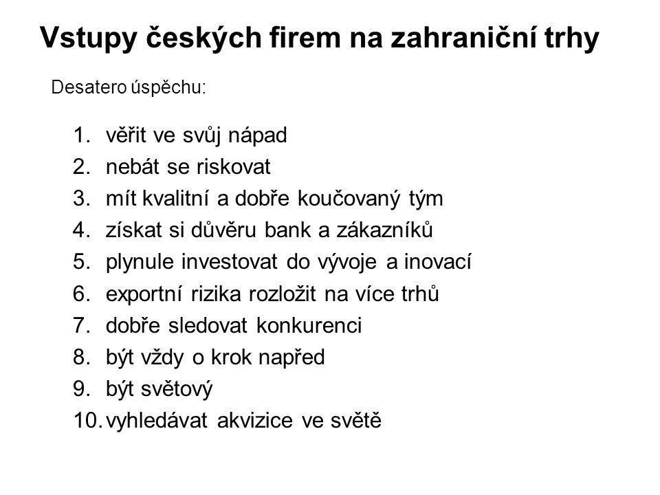 Vstupy českých firem na zahraniční trhy Desatero úspěchu:
