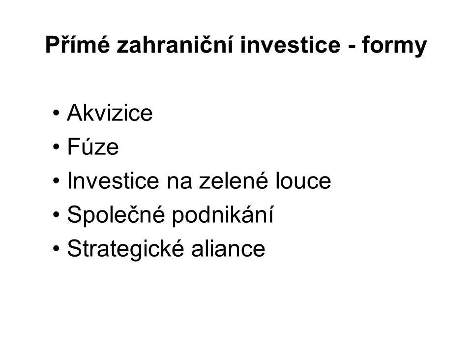 Přímé zahraniční investice - formy