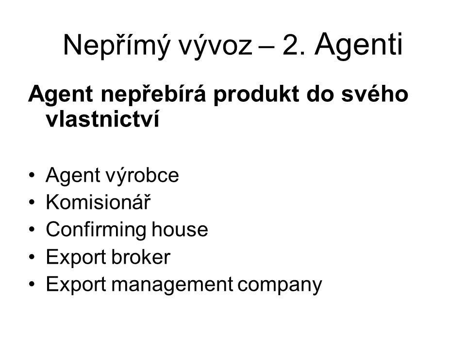 Nepřímý vývoz – 2. Agenti Agent nepřebírá produkt do svého vlastnictví
